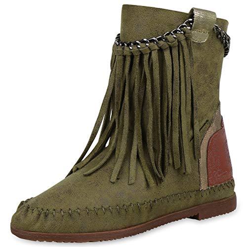 SCARPE VITA Damen Stiefeletten Mokassin Boots Wildleder-Optik Stiefel Fransen 170840 Dunkelgrün 38