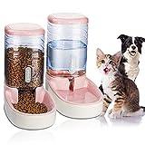 UniqueFit Pets Gatos Perros Riego automático y alimentador de Alimentos 3.8 L con 1 * dispensador de Agua y 1 * alimentador automático para Mascotas (Rosa)