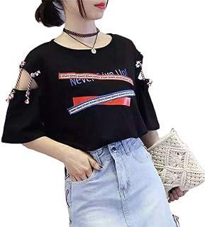 Qianqian tシャツ レディース 半袖 パーカー ゆったり トップス カジュアル ロゴ入り 綿 無地 英字柄 カットソー 韓国風ファッション 通勤 通学 黒 白