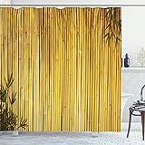 ABAKUHAUS Bambú Cortina de Baño, Naturaleza Las Hojas de Madera Tallos, Material Resistente al...