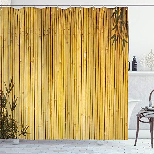 ABAKUHAUS Bambus Duschvorhang, Natur Holz Blätter Vorbauten, Leicht zu pflegener Stoff mit 12 Haken Wasserdicht Farbfest Bakterie Resistent, 175 x 240 cm, Gelb