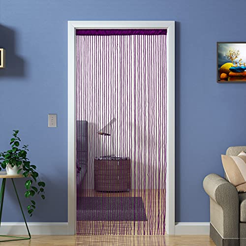 Door Beads Style Curtain Room Divider,Beaded Doorway String Curtains Window Panel Screen Doorways Drapes Wedding Event Party Collocation,Purple W39×L79(100x200cm)