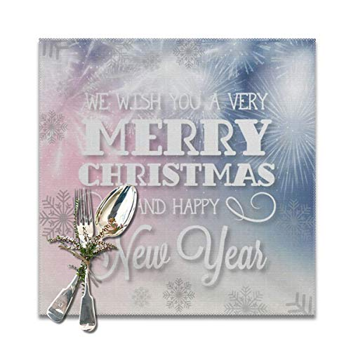 Merry Christmas Snowflake Happy New Year Placemats Set of 4 for Dining Table Heat Resistant Table Mat Washable Non Slip Large Fabric Coffee Kitchen Square Plate Mat Personalized Decorative