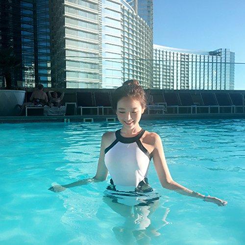 WAZR Sexy Badeanzugfrauen Mit Schmalem Rücken Versammeln Sich, Um Ihren Körper Zu Rasieren Und Ihren Bauch In Einem Konservativen Heißen Quellbikini, S, Weiß, Zu Bedecken