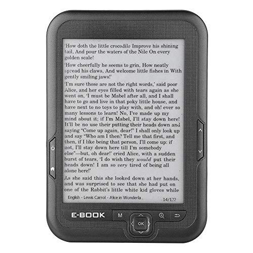 Lazmin112 Lettore di e-Book da 6 Pollici, Schermo e-Ink con risoluzione 800 * 600 Senza abbagliamento con Cavo USB Coperchio PU Supporto e-Reader TF Card(16G e Grigio)