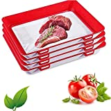 HSART Paquete De 4 Bandejas De Conservación De Plástico para Alimentos, Bandeja De Conservación De Alimentos, Sellado Al Vacío, Duradera Y Reutilizable, para Mantener Los Alimentos Frescos