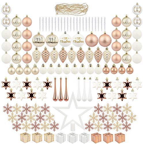 ITART 145ct Christmas Tree Ornaments Decorations Assortment Including Tree Topper Balls Clear Icicles Snowflakes Stars Pine Cones Miniature Gift Boxes and Beads Garlands Finial (Rose Gold)