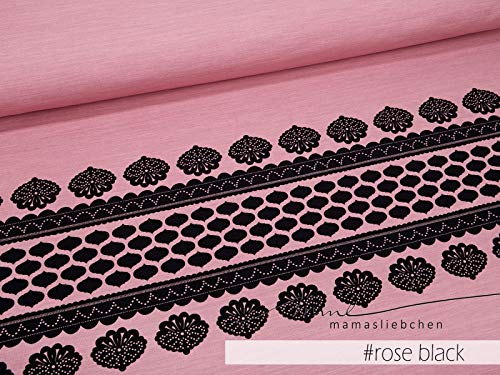 Mamasliebchen Jersey-Stoff Lacing #Rose-Black (1 Panel, ca. 0,8m) Bordüre Ornamente Panel