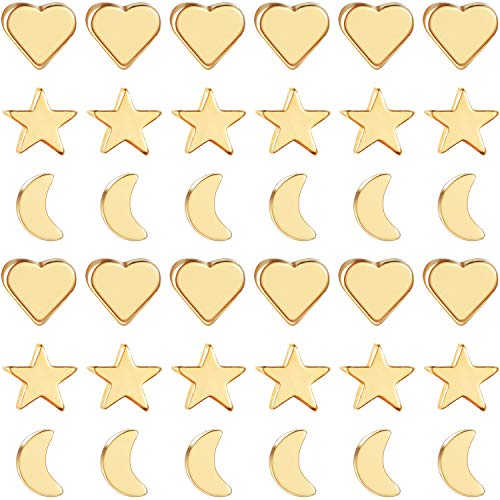 90 Pieces Spacer Charms, Includes 30 Spacer Bead Gold Moon Loose Beads, 30 Star...