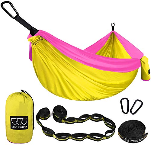 Gold Armour Camping Hammock - Extra Large Double Parachute Hammock (2 Tree Straps 16 Loops,10 ft Included) USA Brand Lightweight Nylon Mens Womens Kids, Camping Accessories Gear (Yellow/Pink)
