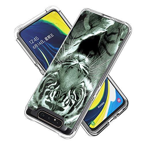 Miagon 2 in 1 Hart PC und Weich TPU Innere Durchsichtig Klar Hülle für Samsung Galaxy A80/90,Bunt Muster Anti Gelb Stoßfest Handyhülle Schutzhülle Bumper Case,Tiger