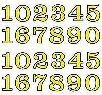 (シャシャン)XIAXIN 防水 PVC製 ナンバー 数字 ステッカー セット 耐候 耐水 数字 キャラクター ミニサイズ 表札 スーツケース ネームプレート ロッカー 屋内外 兼用 TSS-110 (2点, イエローXブラック)