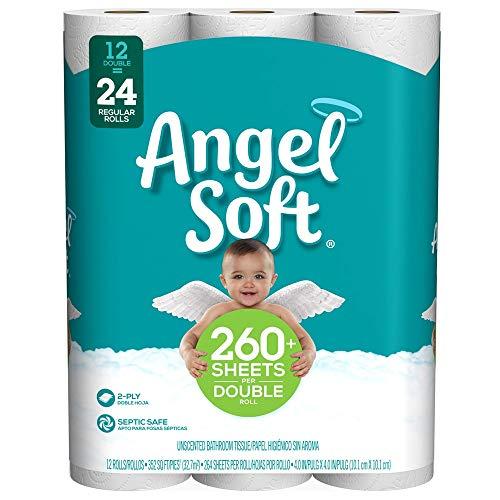 Angel Soft Toilet Paper, 12 Double Rolls, 12 = 24 Regular Bath Tissue Rolls