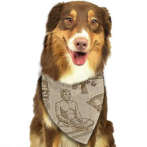 YAGEAD Pañuelo para Perros Cachorro y pañuelos para Mascotas, pirámide egipcia Papiro Pirámide Antigua y faraón en Bufanda Vintage para Mascotas