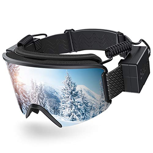 Sable Ski Goggles with Heated Graphene Anti-Fog Lens Charged Snow Sport Goggles Far Infrared Over-Glasses Double Lenses Helmet for Men, Women & Youth, Compatible UV Full Protection for Eyes, Skiing
