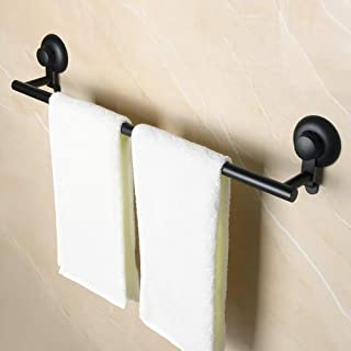 Alise Suction Cups Bathroom Single Towel Bar/Rail Towel Hanger Non Drilling Mount 24-Inch,GX2201-B SUS304 Stainless Steel Matte Black