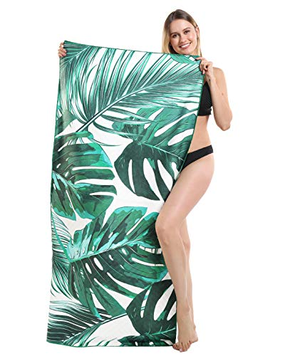 Genovega Thick Microfiber Beach Towel Tropical Hawaii, Sand Resistant Free Proof Sandless, Fast Quick Dry, Compact Travel Pool Towel, for Women Men, Mom Dad, Best Friend Girlfriend Boyfriend