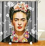 N/A Frida Kahlo Pintor con un Tocado de Flores Protege la Cortina de Ducha de privacidad, la Cortina de Ducha Impresa es fácil de Quitar