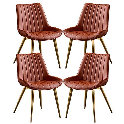 ZYXF Esszimmerstuhl PU-Leder Dining Chair 4er-Set Küchenstuhl mit goldenen Metallbeinen Sitz und Rückenlehne for Lounge Room Corner Stühle Rezeption Stühle (Color : Orange)