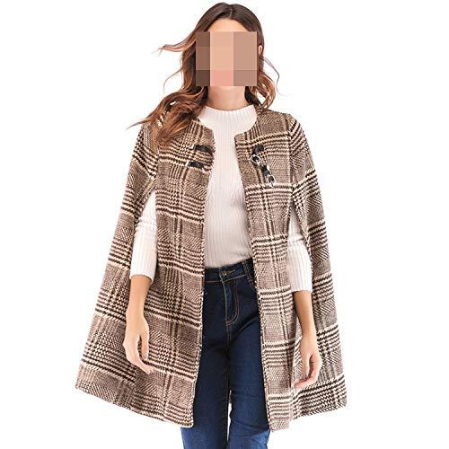 Lederen gesp Mantel Sleeve Plaid Tweed Cape Coat Ol Workwear Vrouwen Bovenkleding Jassen