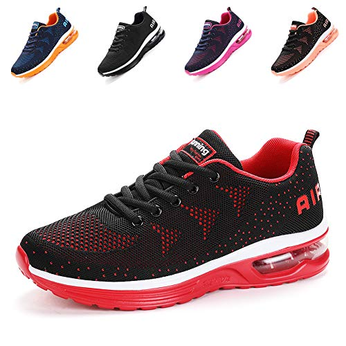 populalar Herren Damen Laufschuhe Turnschuhe Sportschuhe Straßenlaufschuhe Sneakers Atmungsaktiv Trainer für Running Fitness Gym Outdoor Leichte-BlackRed39