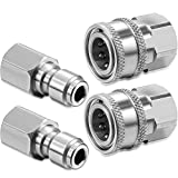 Hotop 2 Sets NPT 3/8 Inch Stainless Steel Male and Female Quick Connector Kit Pressure Washer Adapters