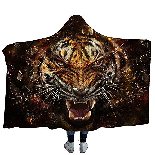 King of The Forest Tiger Manta con Capucha Manta de Lana Capa con Capucha Mantón Manta Perezosa Sofá Pijamas Gruesos y cálidos 130 * 150cm LMT31-02