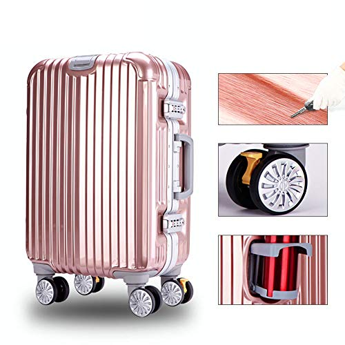 Clamshell Cup Holder YD Luggage Set Trolley case Stylish Scratch-Resistant Brushed Hidden Hook Large Capacity Suitcase 4 Colors ///& Large Diameter Brake Wheel Color : Silver ABS+PC