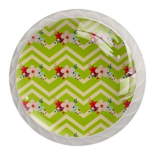 Botones florales con rayas de zigzag verdes | Perillas de gabinete, pomos de cajón, herrajes negros para gabinetes de cocina (4 unidades)