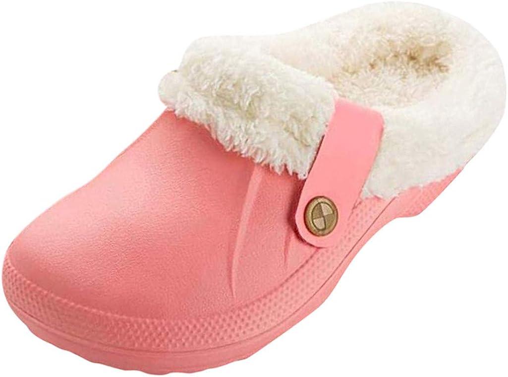 Yukong Femme Hiver Sabots Fourr/ées Homme Pantoufles Chaud Peluche Chaussons Maison Imperm/éables Chaussures de Jardin Int/érieur et Ext/érieur