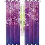 cortinas de dormitorio, japonés flor de cerezo con nebulosa pintura romántica arte oriental, W52 x L95 cortinas de oscurecimiento de la habitación para la sala de estar, fucsia púrpura