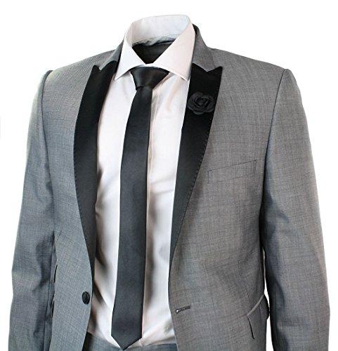 W10 by Julien Mcdonald Hommes Gris clair Slim Fit Designer laine costume noir col à revers Tuxedo Blazer et pantalon