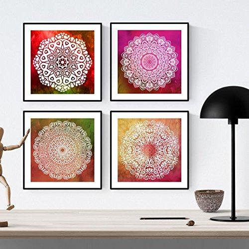 Nacnic Pack de láminas para enmarcar GRATITUD. Posters Cuadrados con imágenes de Mandalas. Decoración de hogar. Láminas para enmarcar. Papel 250 Gramos