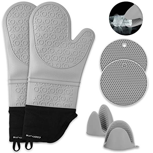 Pot Holders and Oven Mitts Sets: Extra Long Heat Resistant Silicone Oven Mitts, Mini Oven Gloves and Hot Pads Potholders for Kitchen and Cooking, Grey, Pack of 6