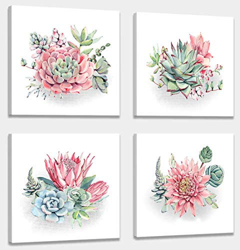 Home decorations for living room Canvas Wall art for living room bathroom Wall Decor Home decorations for living room Succulent Wall Simple wall art Plant watercolor 4 Piece Framed family wall art