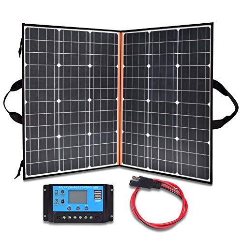 Qnlly - Valigia Portatile da 110 W, 18 V, con Pannello Solare, Leggera e Pieghevole, con regolatore di Carica LCD 10 A, per generatore di Potenza di Jackery/SUAOKI/Rockpals/Goal Zero/Webetop