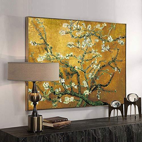 woplmh Quadro su Tela Vincent Van Gogh Mandorlo in Fiore Poster e Stampe Pittura impressionista Parete per Soggiorno 70x100 cm Senza Cornice