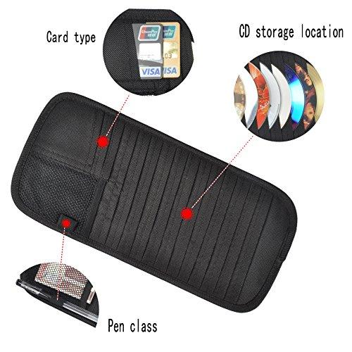CD Visor Organizer for Car 12 Pocket CD Visor Holder (Black)