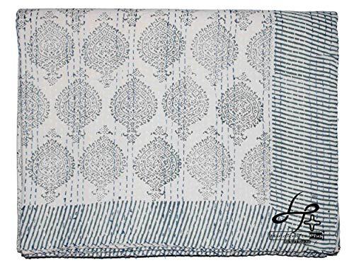 Handicrafts Plus Colcha de algodón Kantha india hecha a mano Gudari King Size Ralli Handblock Print Coverlet color gris funda de cama para ropa de cama y decoración del hogar 90 x 108 pulgadas
