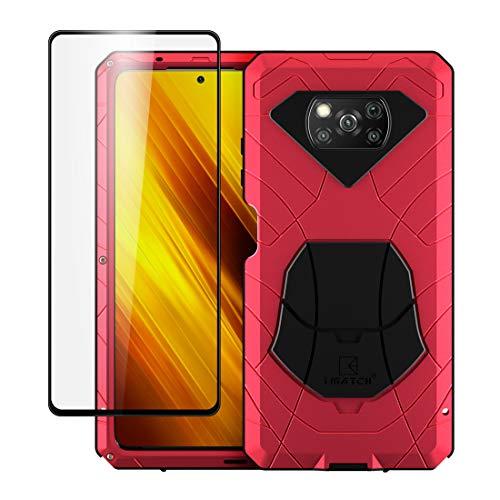Funda para Xiaomi Poco X3 NFC(Pocophone X3 NFC), híbrida de aluminio y metal resistente a los golpes, marco de goma suave y silicona, carcasa rígida con soporte para Xiaomi Poco X3 NFC (rojo)