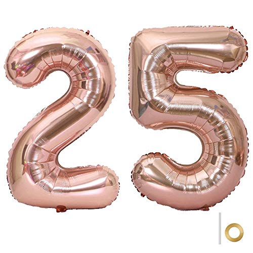 Huture 2 Luftballons Zahl 25 Figuren Aufblasbar Helium Folienballon Große Folienmylar Ballons Riesen Roségold Ballons 40 Zoll Luftballons Zahl für Geburtstag Party Dekoration Abschlussball XXL 100cm