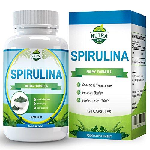 Miglior Estratto Alimentare Integratore di Spirulina, Benefici potenti, Massima Resistenza, Maggiore Energia ed Efficienza del Sistema Immunitario Amplificazione, 500mg, 120 Capsule