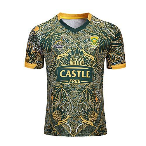 YINTE 2020 Südafrika Springbok 7S Rugby Jersey-WM 2019 Aus Baumwoll-Jersey-Grafik-T-Shirt 100. Anniversary Edition Fans T-Shirts Kurzarm Trainingssportkleidung Polo-Hemd XL