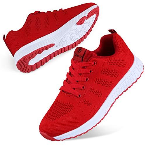 Youecci Zapatillas de Deportivos de Running para Mujer Deportivo de Exterior Interior Gimnasia Ligero Sneakers Fitness Atlético Caminar Zapatos Transpirable Rojo 36 EU
