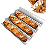 French Bread Pan, Baguette Pans for Baking 15' x 13' Non-stick 4 Wave Perforated Baguette Pan for Bread Toast Cooking Loaves Bake Mold Bakers Molding for Professional & Home Bakers