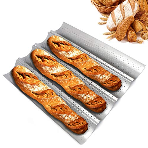 French Bread Pan Baguette Pans for Baking 15quot x 13quot Nonstick 4 Wave Perforated Baguette Pan for Bread Toast Cooking Loaves Bake Mold Bakers Molding for Professional amp Home Bakers