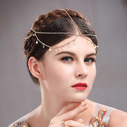 Aukmla Gold Small Coins Hair Chain Boho Festival Wedding Headpiece Head Chain Spring Summer Christmas Headchain Gold Hair Jewelry for Women and Girls 8