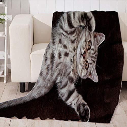 Bedsure Mantas para Sofás de Franela Gato Negro de Lujo de Grande Tamaño Manta Manta de Lana para sofá y Cama de 180x200cm