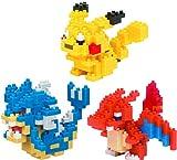 3 Set Nanoblock Bundle - Gyarados, Charizard and Pikachu - Adjustable Pokemon Characters (Japan Import)
