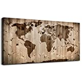 Wood grain Vintage World Map Wall Art Living Room Bedroom Decoration Modern Map Painting Prints Contemporary Canvas Artwork Retro Map of The World for Office Wall Decor Large World Map Canvas picture